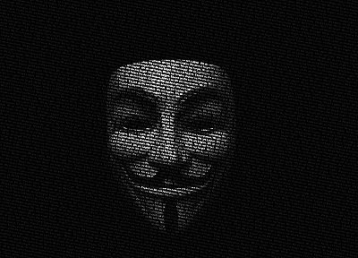 Anonymous, Guy Fawkes, typographic portrait - random desktop wallpaper