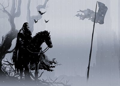 skulls, flags, horses, digital art, warriors - random desktop wallpaper