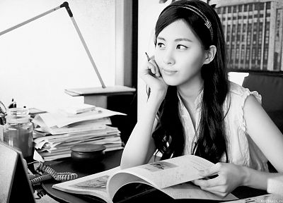 women, Girls Generation SNSD, celebrity, grayscale, Seohyun, singers, monochrome - related desktop wallpaper