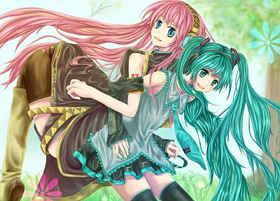 Vocaloid, Hatsune Miku, Megurine Luka, detached sleeves - random desktop wallpaper