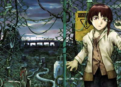 Serial Experiments Lain, chain link fence - random desktop wallpaper