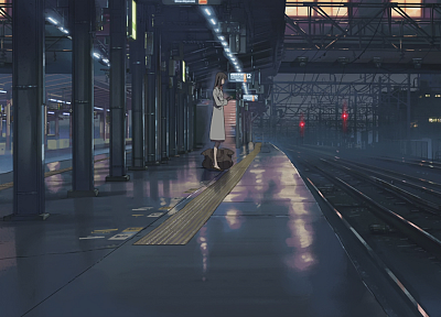 Makoto Shinkai, train stations, power lines, 5 Centimeters Per Second, artwork, anime, railway - related desktop wallpaper
