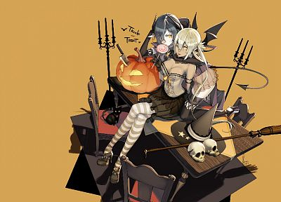 tails, skulls, wings, stockings, Black Cat, Halloween, sweets (candies), corset, tables, brooms, chairs, candies, candles, hats, anime girls, pumpkins, witches, Trick 'r Treat, striped legwear - desktop wallpaper