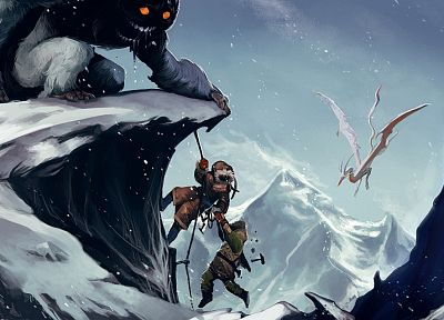 climbing, mountains, snow, monsters, fantasy art, artwork, adventure - related desktop wallpaper