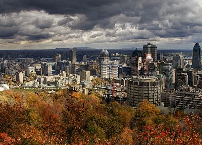trees, cityscapes, skylines, buildings, Montreal, HDR photography - related desktop wallpaper