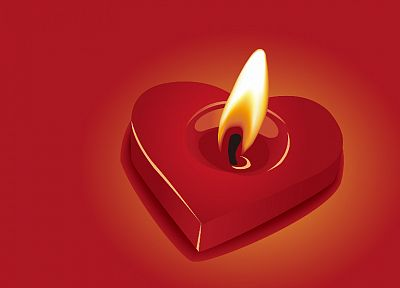 hearts, candles, red background - desktop wallpaper