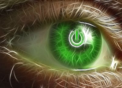 green, eyes, Fractalius, power button - random desktop wallpaper