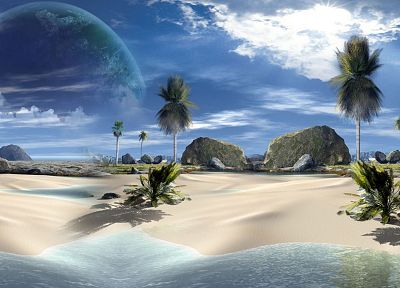 landscapes, trees, planets, tropical, 3D renders, beaches - desktop wallpaper