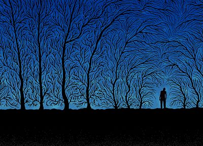 creepy, abstract, trees, night, forests, silhouettes, shadows, haunted, dusk - related desktop wallpaper