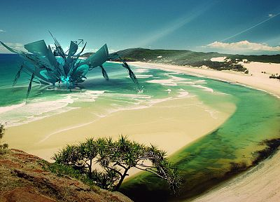 monsters, tropical, fantasy art, digital art, beaches - random desktop wallpaper