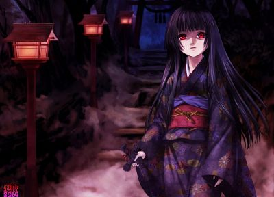 Jigoku Shoujo, Enma Ai, Japanese clothes, anime girls - related desktop wallpaper