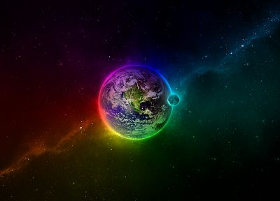 outer space, stars, planets, Earth, rainbows - desktop wallpaper