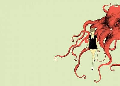 women, octopuses, somefield, Barnaby Ward - related desktop wallpaper