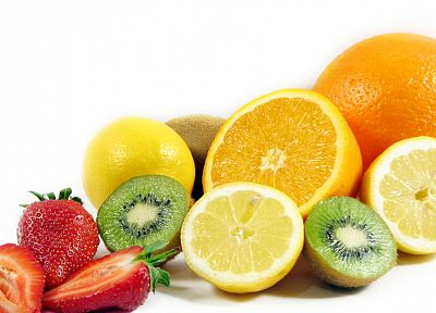 fruits, kiwi, oranges, strawberries, orange slices, lemons, white background, meal - desktop wallpaper