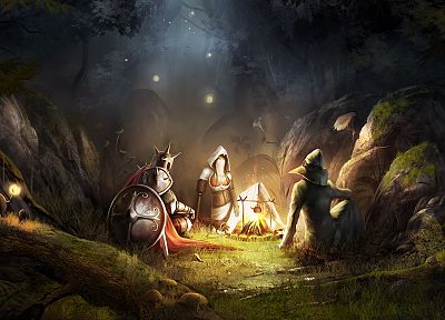 fantasy, video games, forests, fire, armor, Trine, artwork, warriors, soft shading - desktop wallpaper