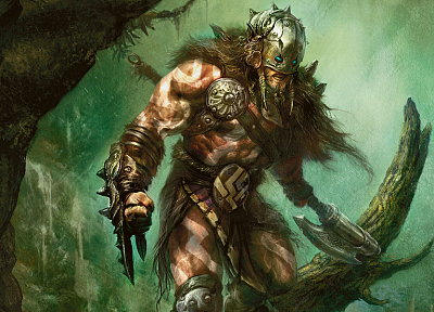 Magic: The Gathering, weapons, fantasy art, artwork, realistic, warriors, Planeswalker, garruk - related desktop wallpaper