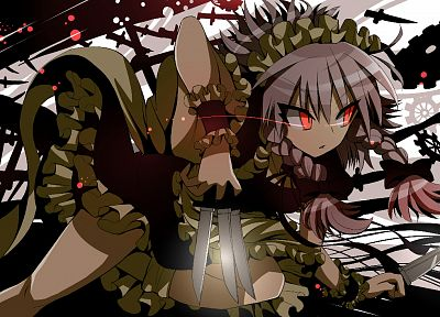 Touhou, Izayoi Sakuya, knives, anime, anime girls - related desktop wallpaper