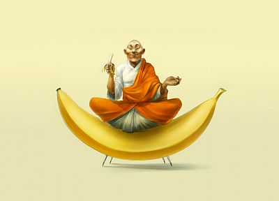 bananas, monk, Buddhist - random desktop wallpaper