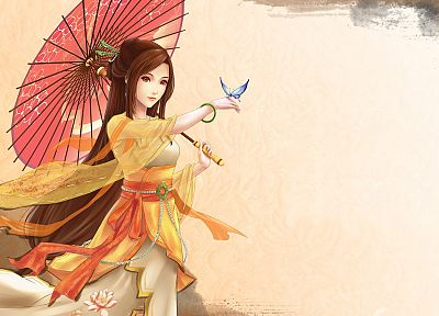 cartoons, women, Asians, artwork, drawings, anime, umbrellas, butterflies - random desktop wallpaper
