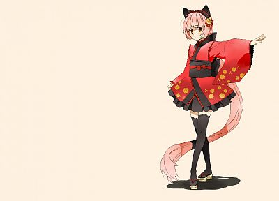 Vocaloid, dress, long hair, nekomimi, pink hair, animal ears, Japanese clothes, simple background, anime girls, Nekomura Iroha - desktop wallpaper