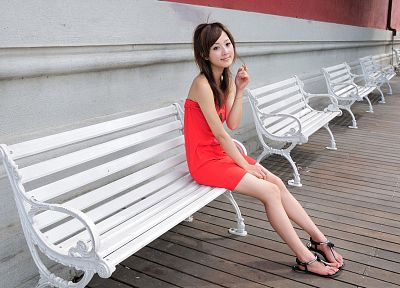 women, dress, feet, bench, Asians, sandals, Mikako Zhang Kaijie - random desktop wallpaper