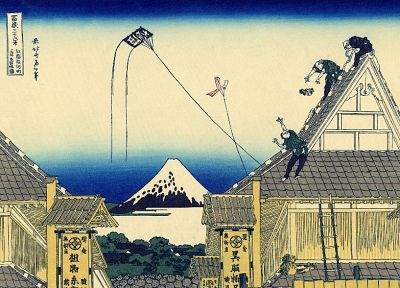 paintings, Japanese, kite, rooftops, traditional art, Katsushika Hokusai, Thirty-six Views of Mount Fuji - related desktop wallpaper