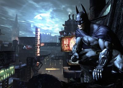 Batman, video games, cityscapes, Batman Arkham City - random desktop wallpaper
