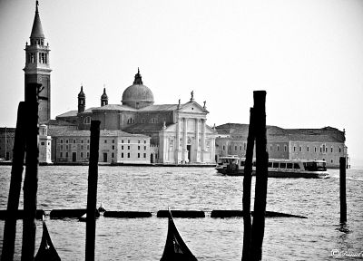 cityscapes, architecture, buildings, grayscale, Venice - desktop wallpaper