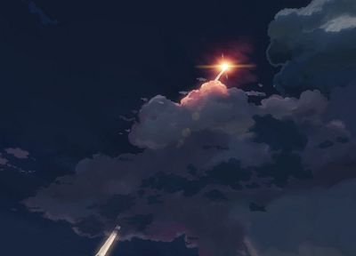 clouds, night, Makoto Shinkai, 5 Centimeters Per Second, anime, contrails, skyscapes, skies - related desktop wallpaper
