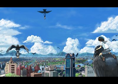 clouds, wings, cityscapes, birds, skirts, seifuku, skyscapes - related desktop wallpaper