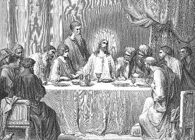 grayscale, The Last Supper, Jesus Christ, artwork, Gustave  Dore - random desktop wallpaper