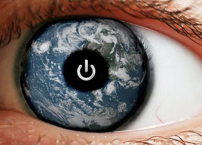 eyes, Earth, power button - random desktop wallpaper