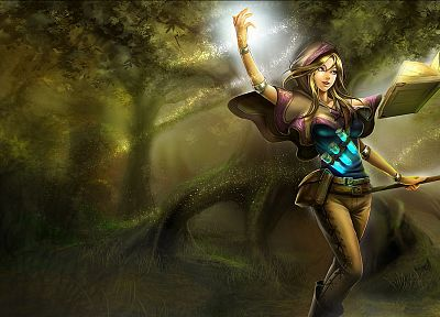 mage, video games, forests, League of Legends, sparkles, magic, capes, staff, Lux, potion, leather pants, armlet - random desktop wallpaper