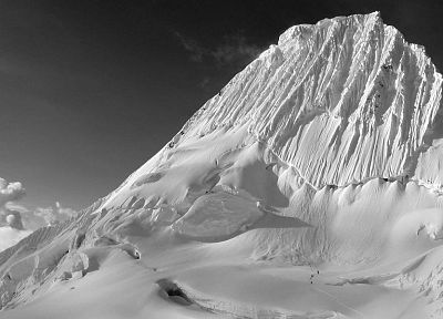 mountains, snow, monochrome, snow landscapes, greyscale - desktop wallpaper