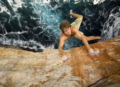 water, cliffs, Chris Sharma, rock climbing - desktop wallpaper