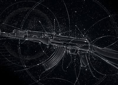 guns, stars, design, weapons, AK-47, automatic weapons, Matei Apostolescu - desktop wallpaper