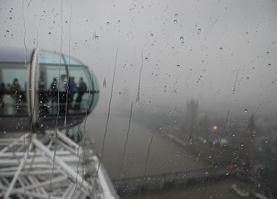 cityscapes, rain, London, fog, London Eye, rain on glass - random desktop wallpaper