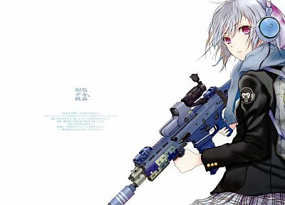 guns, weapons, Fuyuno Haruaki, artwork, 3D, simple background, anime girls - related desktop wallpaper
