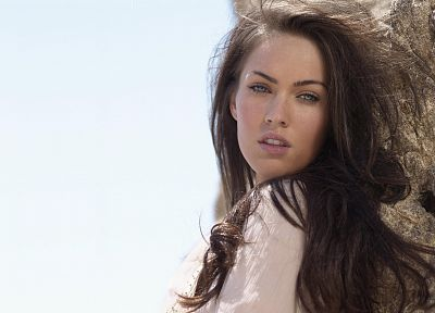 brunettes, women, water, close-up, Megan Fox, blue eyes, actress, long hair, outdoors, celebrity, faces, beaches - random desktop wallpaper
