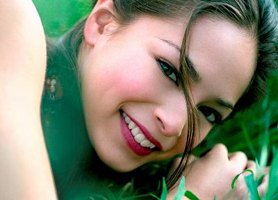 green, women, grass, Kristin Kreuk - random desktop wallpaper