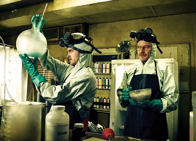 drugs, Breaking Bad, TV series, Bryan Cranston, Walter White, Aaron Paul, men with glasses - random desktop wallpaper