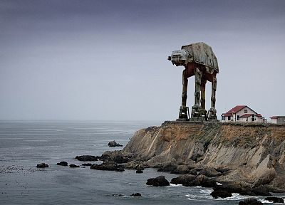 Star Wars, sad, lighthouses, AT-AT, Point Conception, photo manipulation, sea - random desktop wallpaper