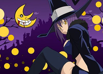 Soul Eater, witch, Blair, Moon, cartoonish, anime girls - random desktop wallpaper