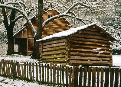 mountains, winter, Tennessee, cabin, National Park - related desktop wallpaper