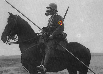 soldiers, Linux, Ubuntu, gas masks, horses - random desktop wallpaper