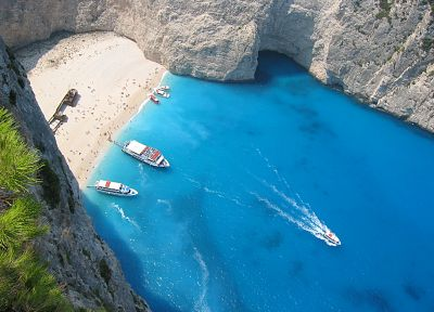 ships, islands, Greece, Zakynthos, cove, sea - desktop wallpaper