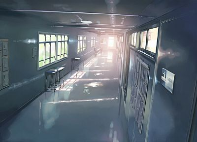 school, Makoto Shinkai, hallway, 5 Centimeters Per Second, artwork - random desktop wallpaper