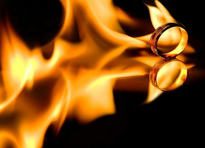 flames, fire, rings, black background - related desktop wallpaper