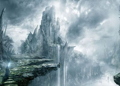 fantasy, castles, artwork, waterfalls - random desktop wallpaper