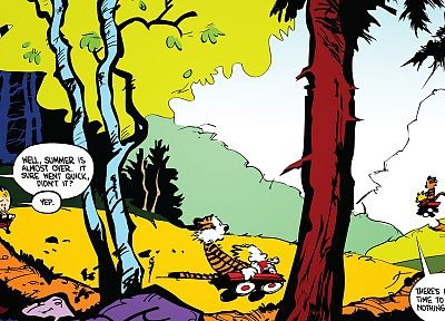 trees, comics, summer, Calvin and Hobbes, wagons - related desktop wallpaper